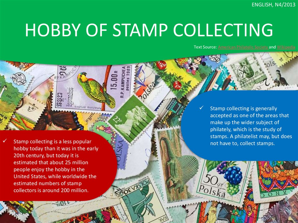 HOBBY OF STAMP COLLECTING