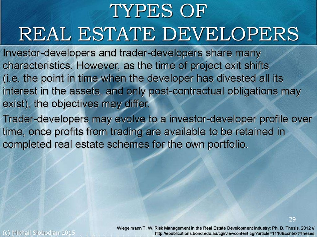 TYPES OF REAL ESTATE DEVELOPERS