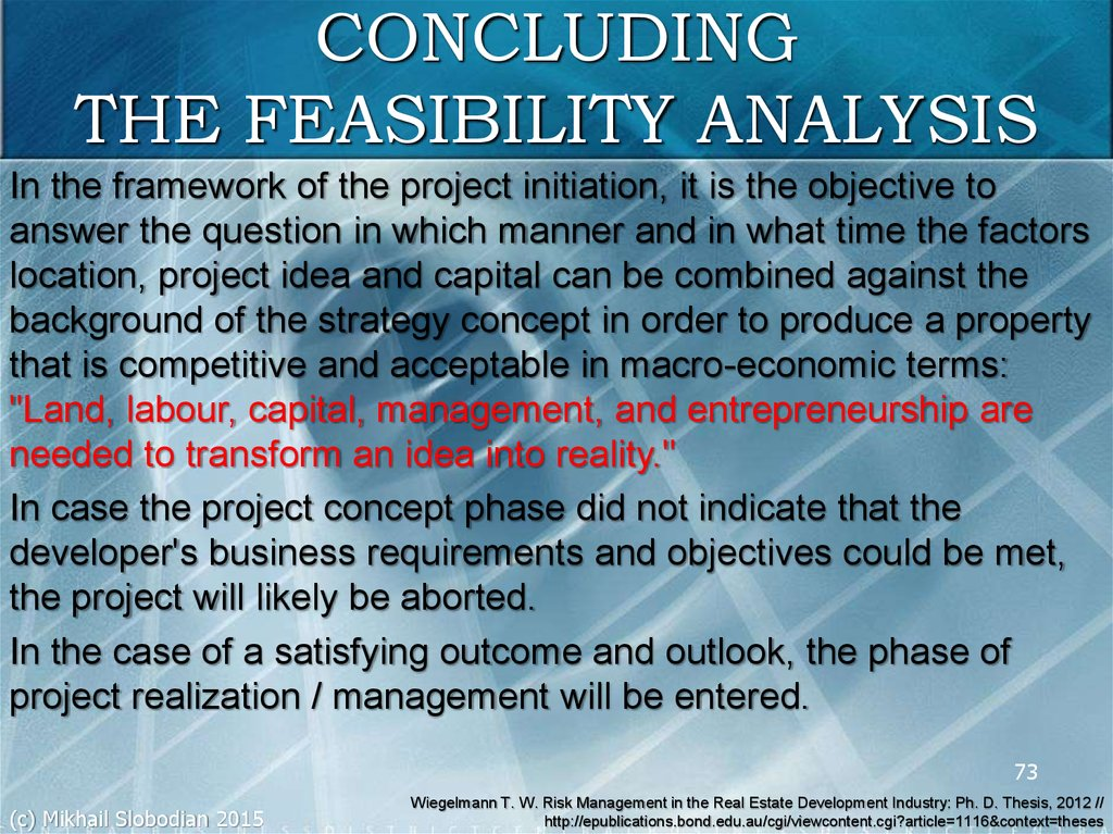 CONCLUDING THE FEASIBILITY ANALYSIS