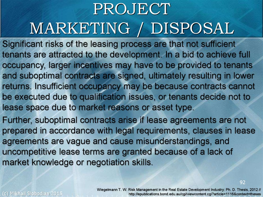 PROJECT MARKETING / DISPOSAL