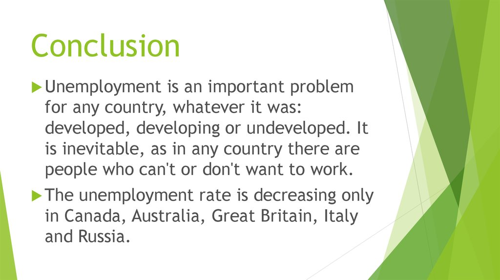 conclusion of unemployment wikipedia