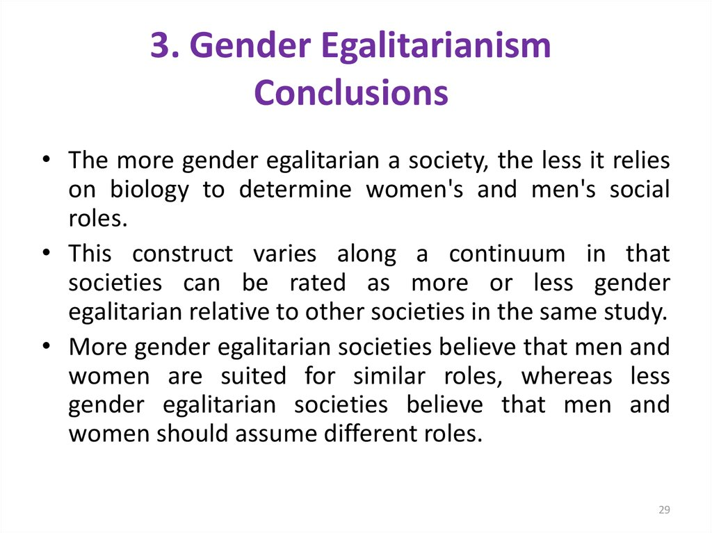 3. Gender Egalitarianism Conclusions