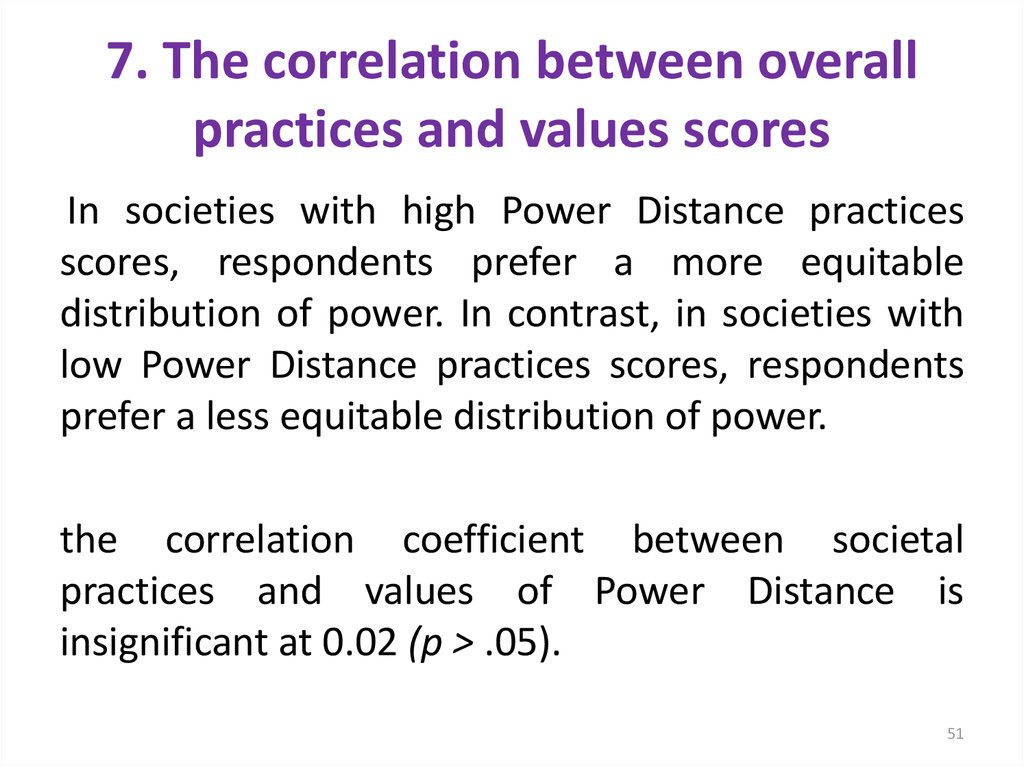 7. The correlation between overall practices and values scores