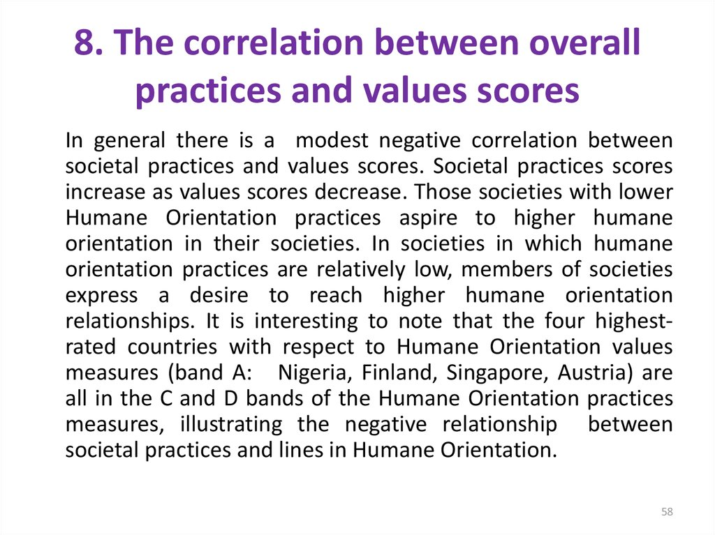 8. The correlation between overall practices and values scores