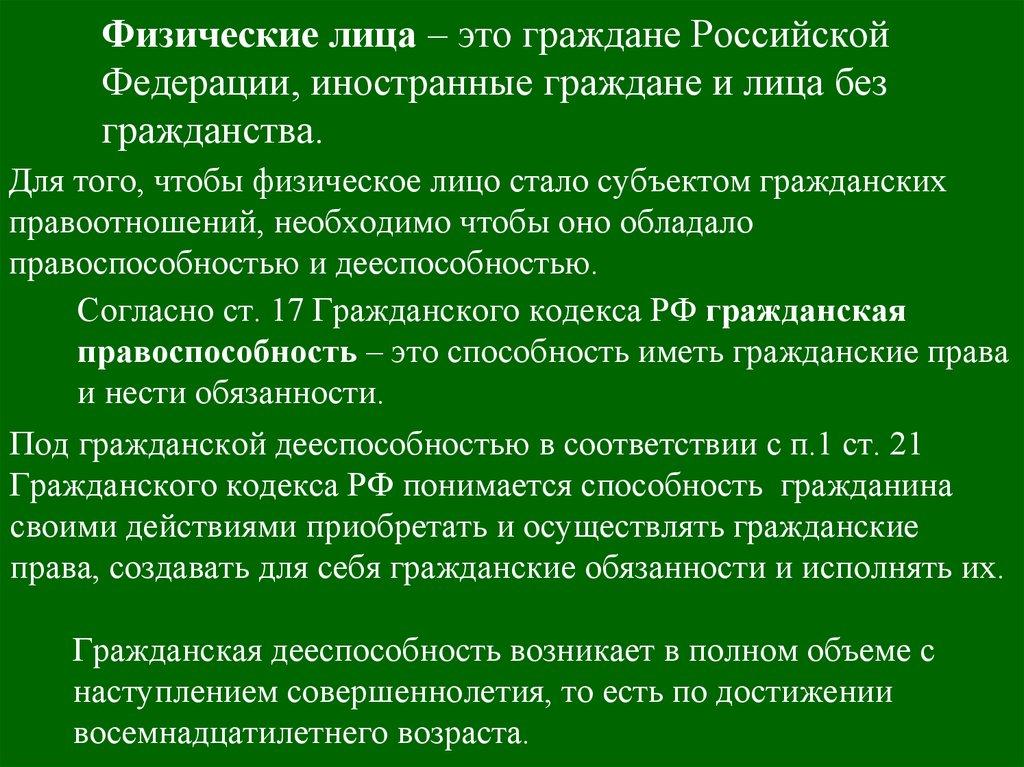 гражданский кодекс физические лица