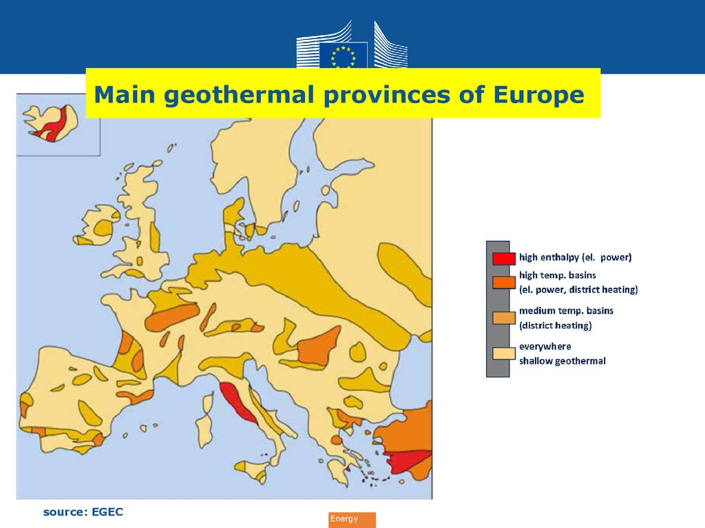 Main geothermal provinces of Europe