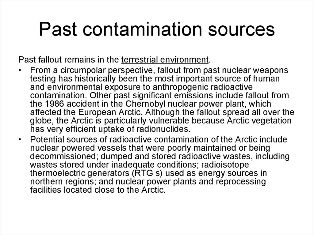 Past contamination sources