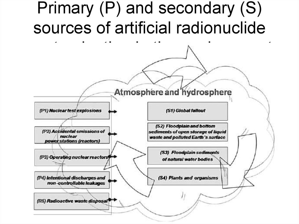 Primary (P) and secondary (S) sources of artificial radionuclide contamination in the environment
