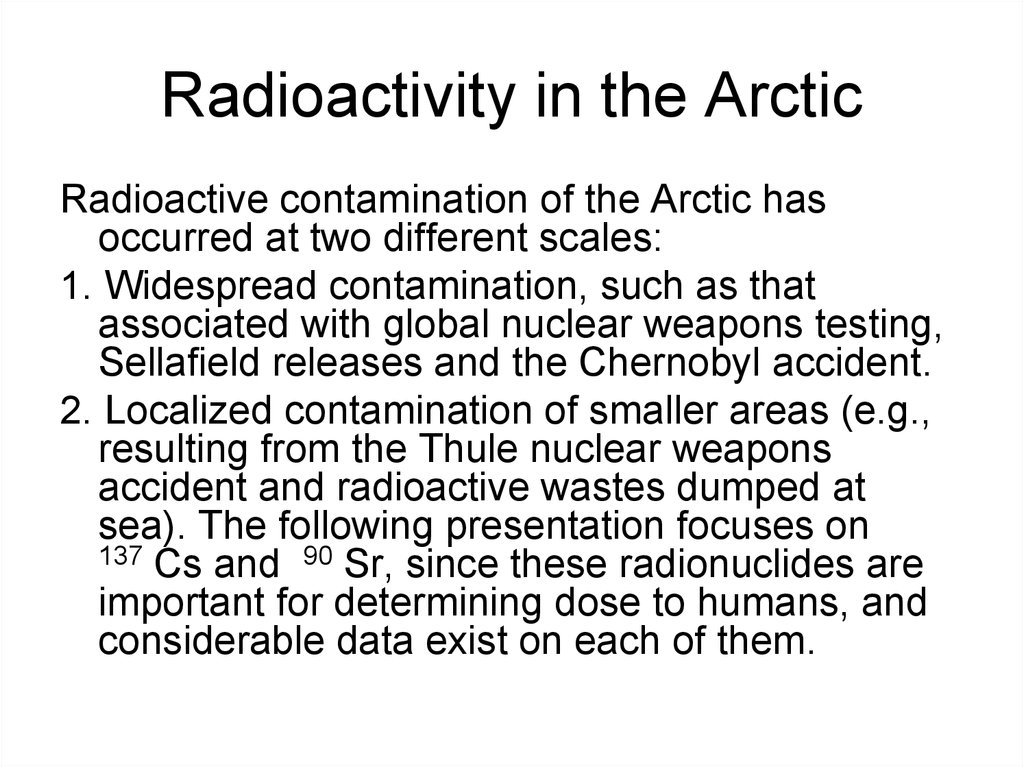 Radioactivity in the Arctic