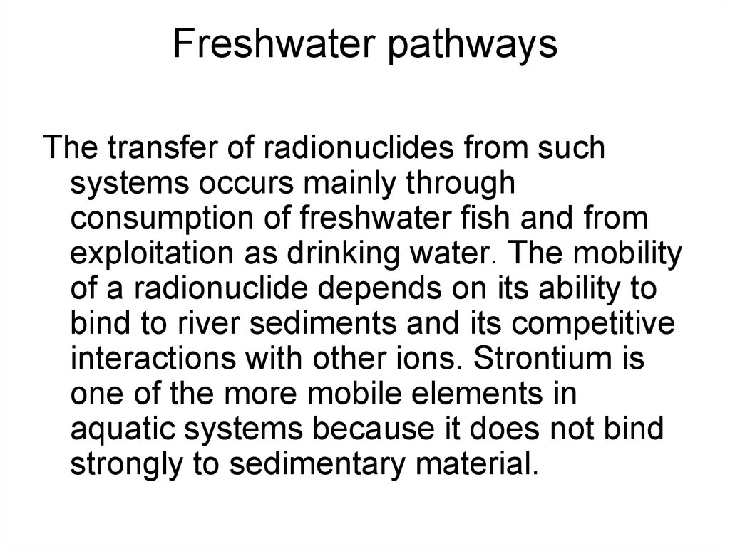 Freshwater pathways