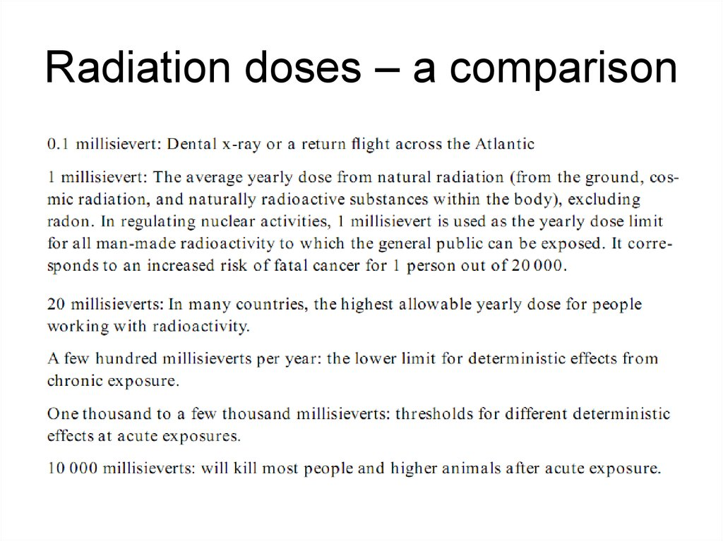 Radiation doses – a comparison