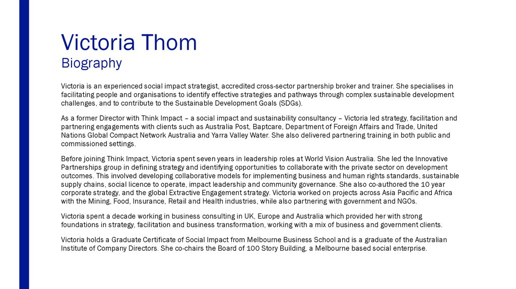 Victoria Thom Biography