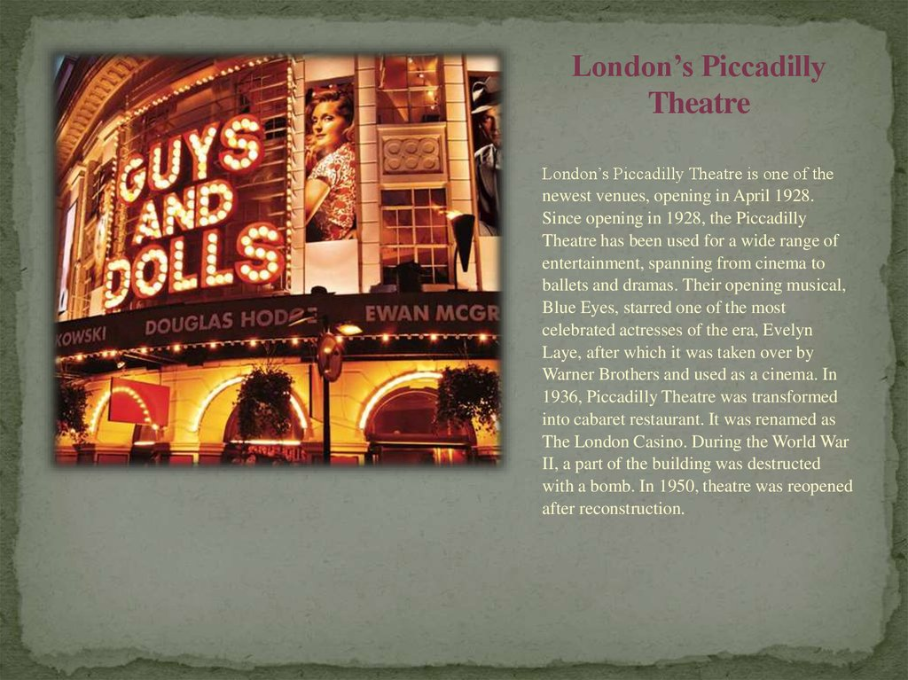 London's Piccadilly Theatre