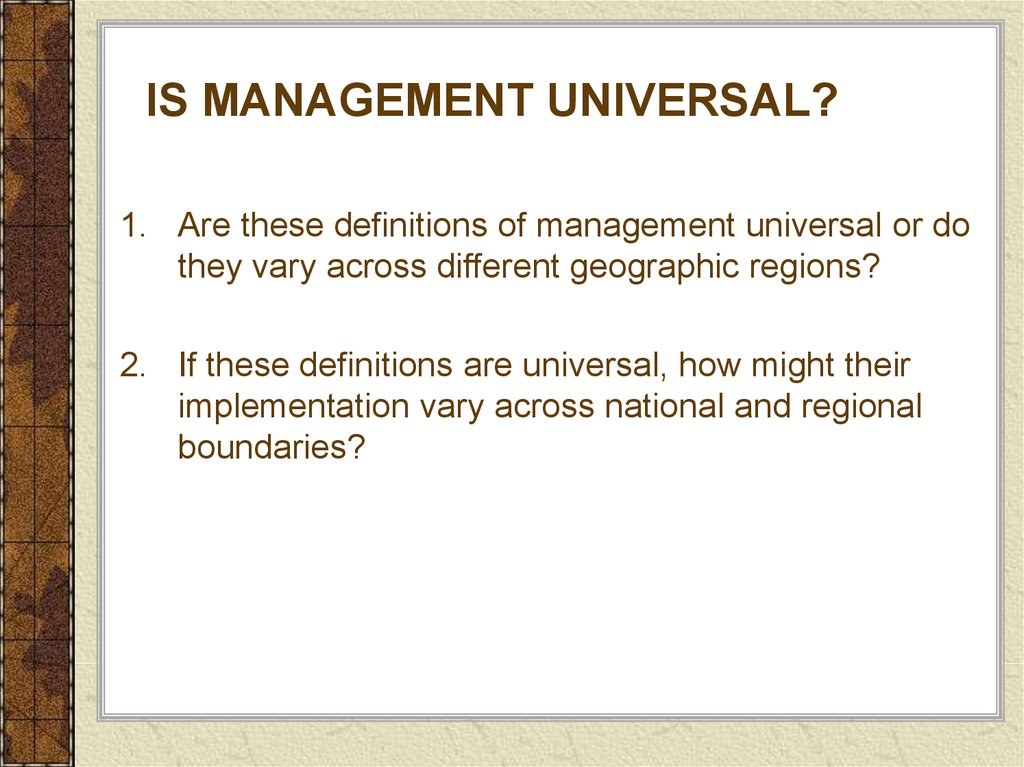 Is management universal?