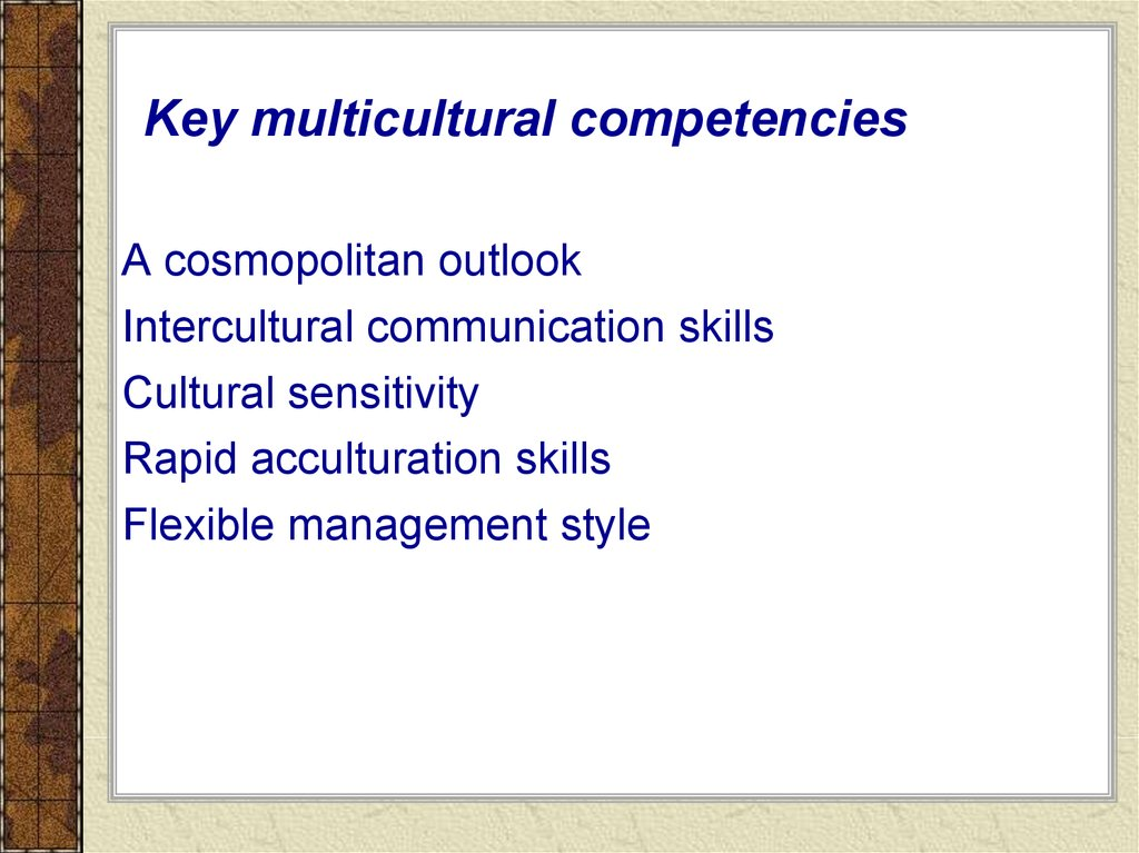 Key multicultural competencies