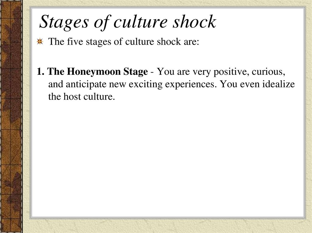 what stage of culture shock is kelly s family experiencing Buckle up culture shock is the feeling of disorientation brought on by experiencing an unfamiliar culture, lifestyle, or the stages of culture shock can hide more serious mental health concerns start by talking to your family back home, program director, or school guidance counselor and have.