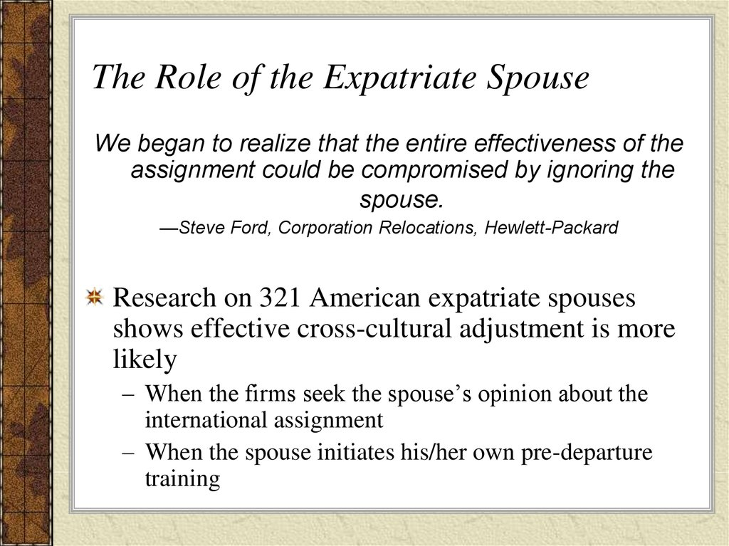 The Role of the Expatriate Spouse