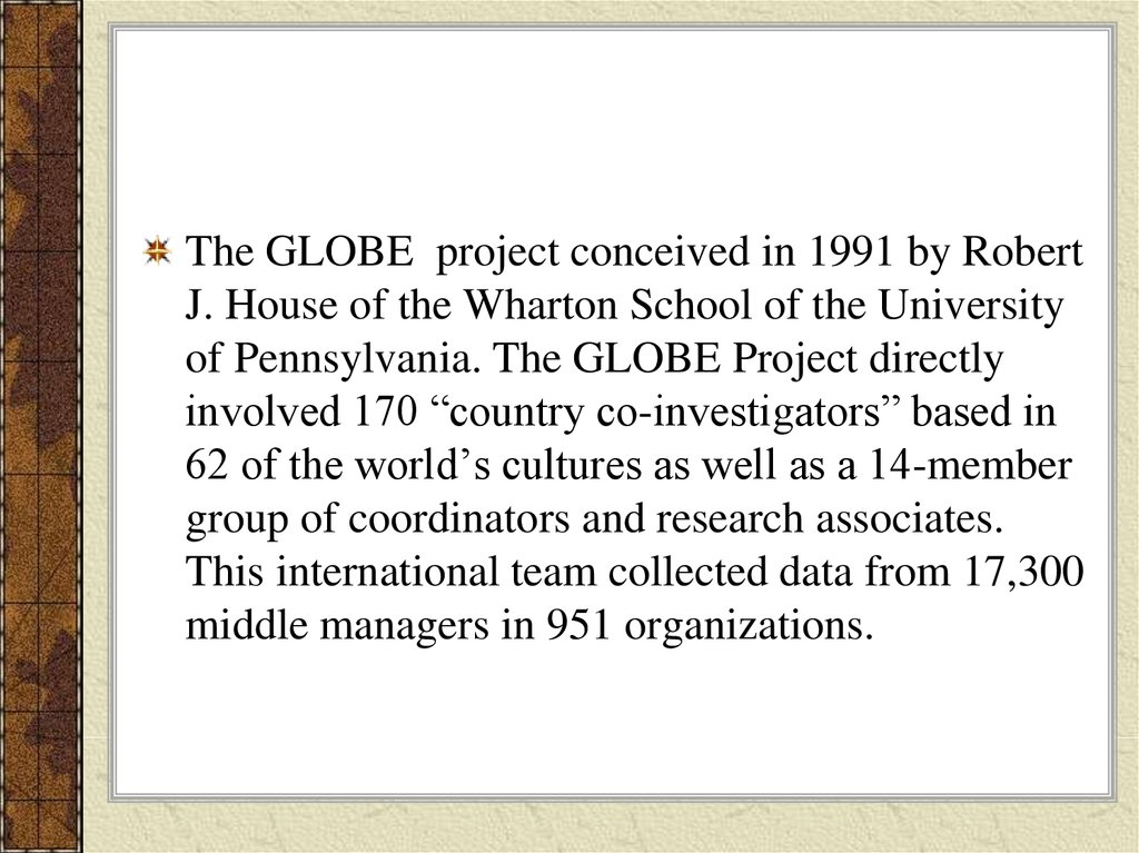 global leadership and organizational behavior effectiveness research project