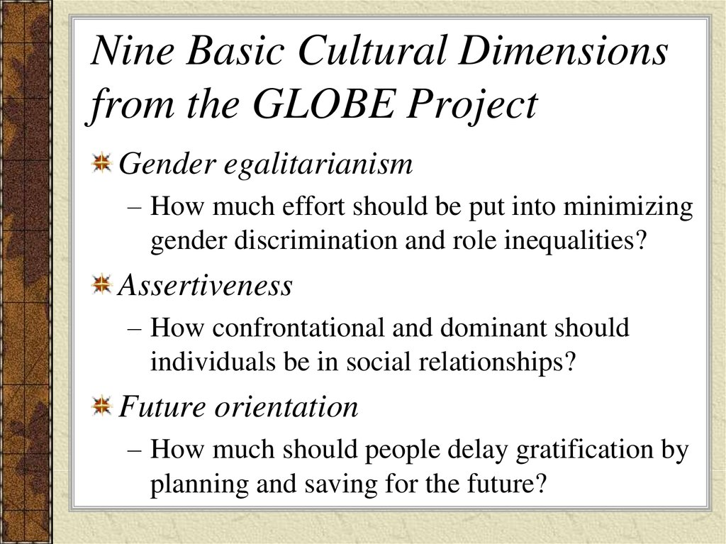 Nine Basic Cultural Dimensions from the GLOBE Project