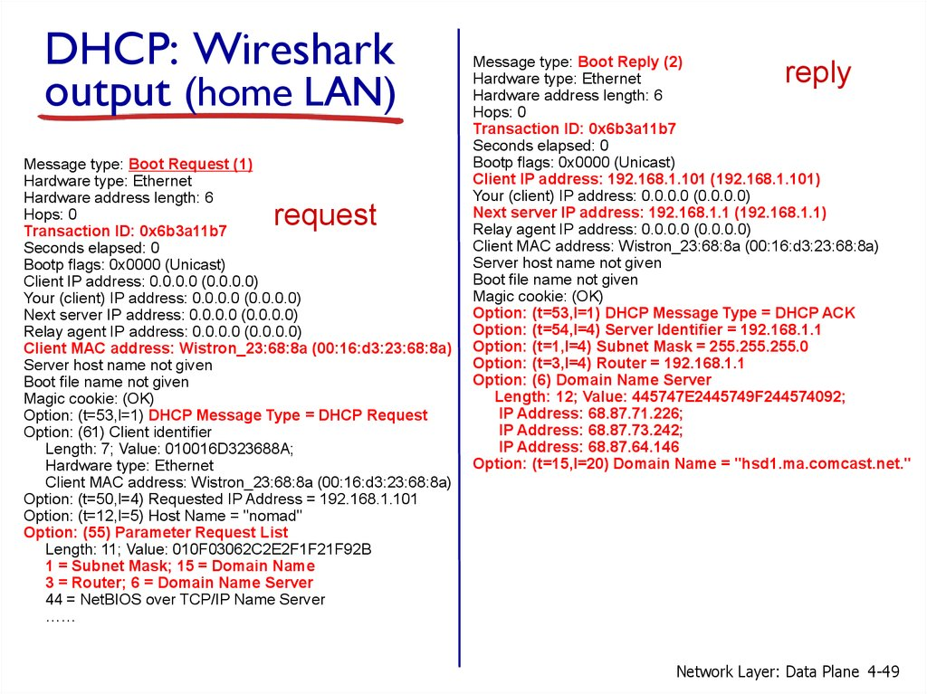 DHCP: Wireshark output (home LAN)