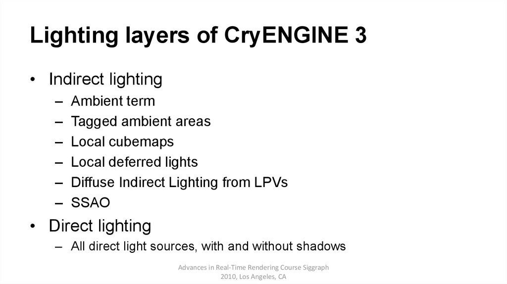 Lighting layers of CryENGINE 3