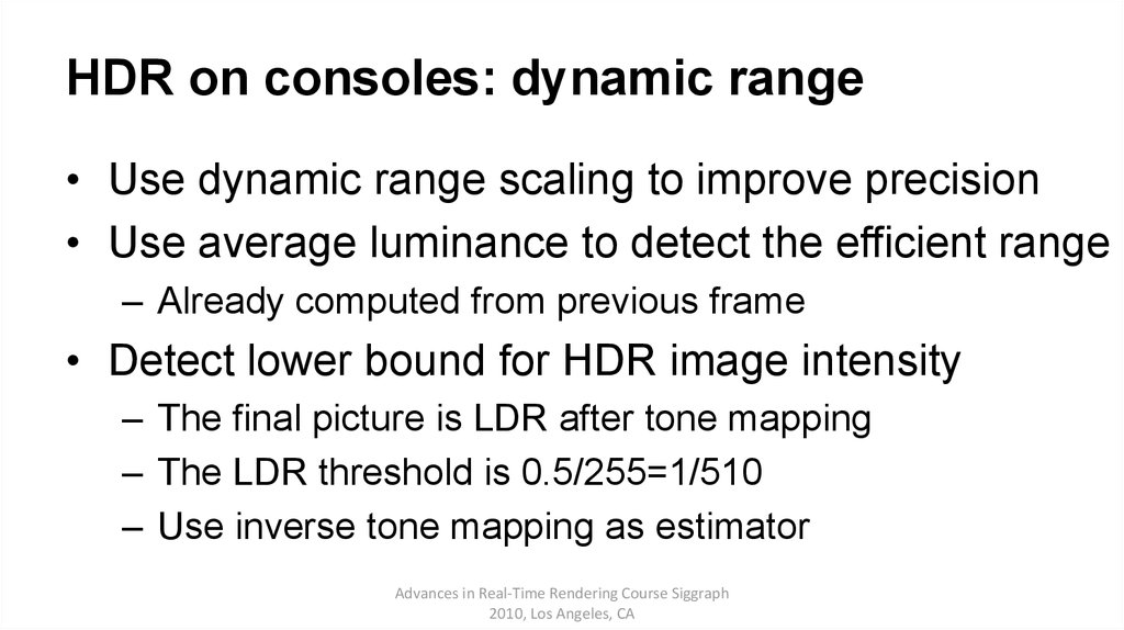 HDR on consoles: dynamic range