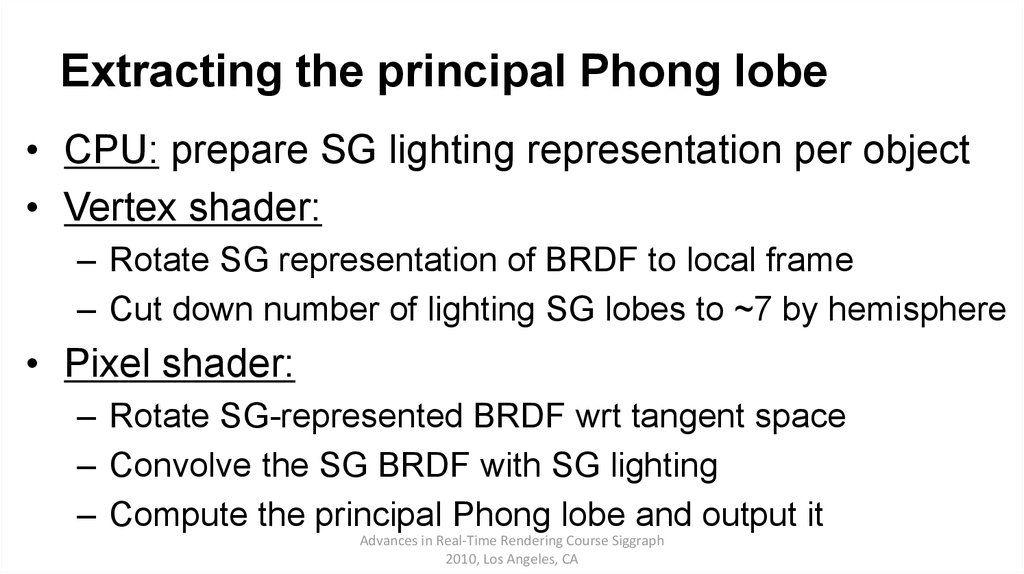 Extracting the principal Phong lobe
