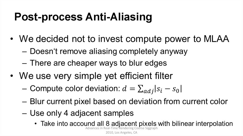 Post-process Anti-Aliasing