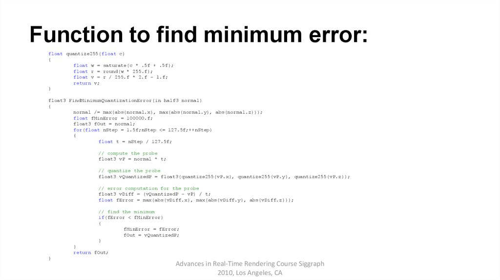 Function to find minimum error: