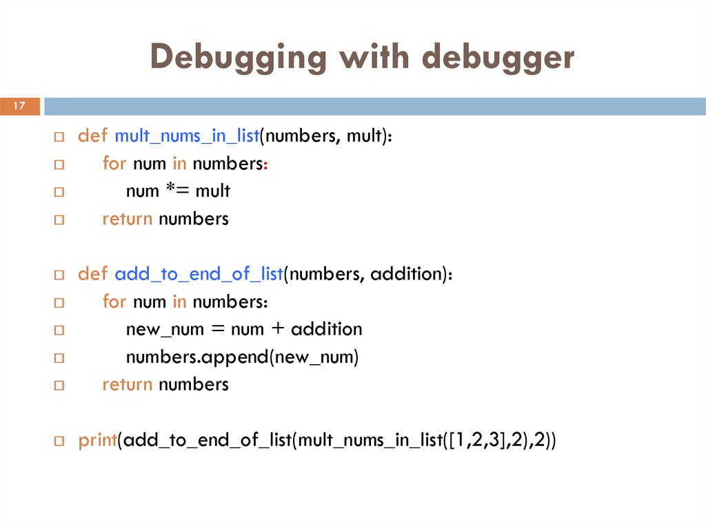 Debugging with debugger