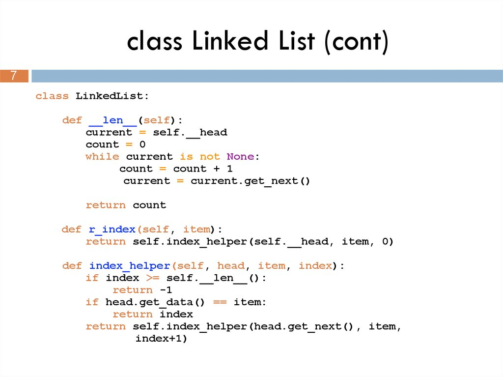 class Linked List (cont)