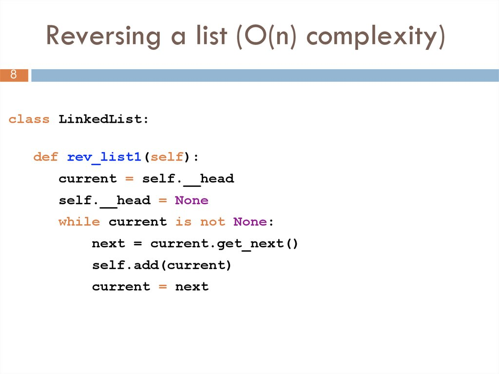 Reversing a list (O(n) complexity)