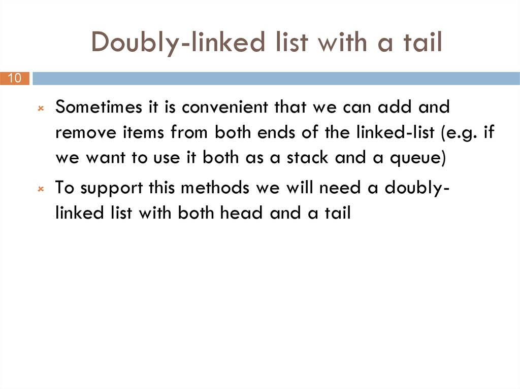 Doubly-linked list with a tail