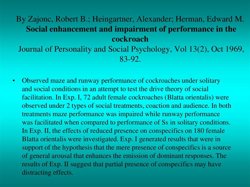 social facilitation complex tasks comparison zajonc s driv