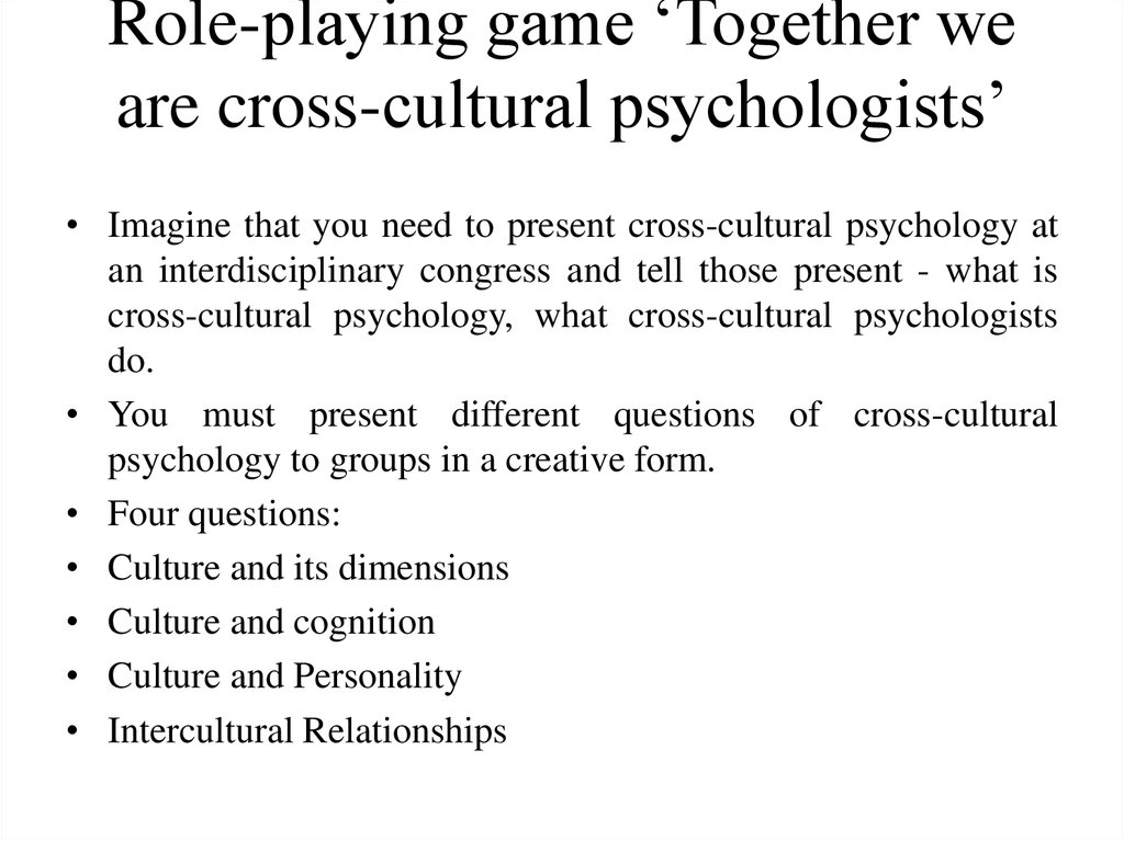 what are some examples of emerging issues in cross cultural psychology To address these issues of linking culture and psychology, this chapter examines development in multicultural nations for example, identity development involves personal exploration in.