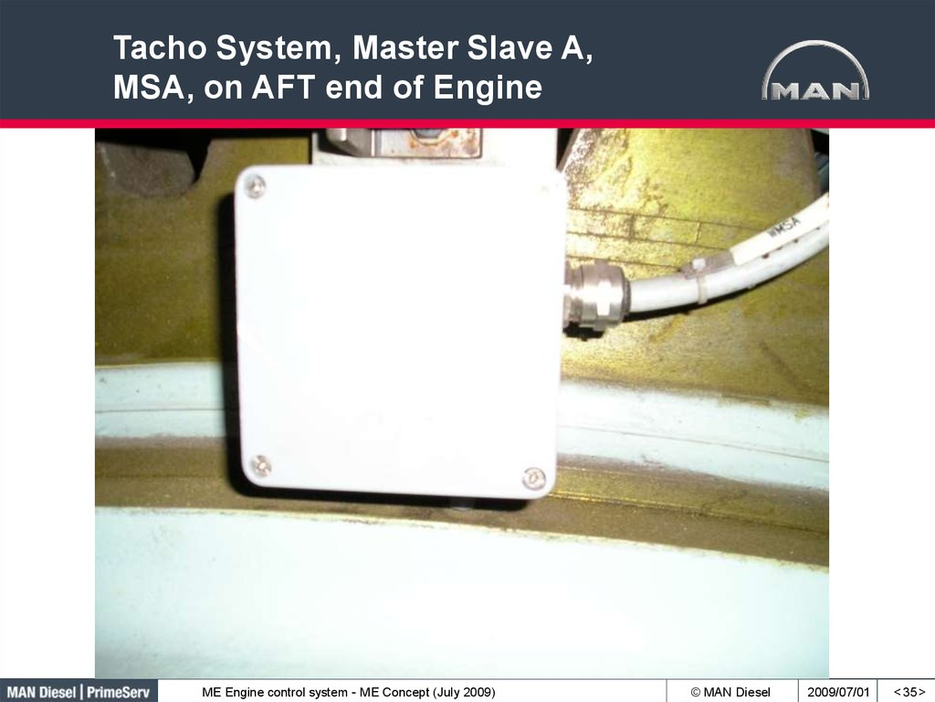 Tacho System, Master Slave A, MSA, on AFT end of Engine
