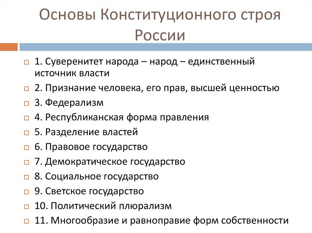 Многообразие строя шпаргалка рф конституционного основа политическое
