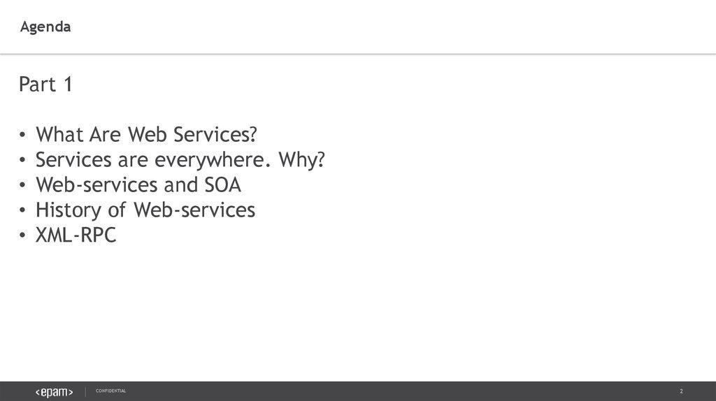 Web services  Part 1  Confidential - online presentation