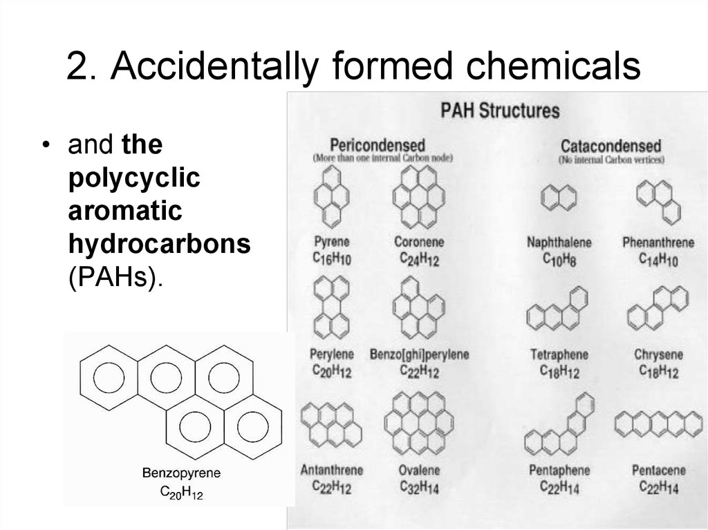 2. Accidentally formed chemicals